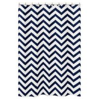 Sweet Jojo Designs Chevron Shower Curtain In Navy White