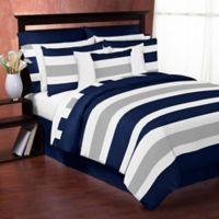 Sweet Jojo Designs Navy and Grey Stripe Twin Comforter Set