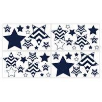 Sweet Jojo Designs Chevron Wall Decals in Navy/White (Set of 4)