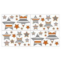 Sweet Jojo Designs Grey and Orange Stripe Star Wall Decals