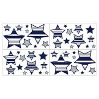 Sweet Jojo Designs Navy and Grey Stripe Star Wall Deals