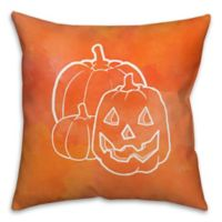 Halloween Watercolor Jack-O-Lantern 18-Inch Throw Pillow