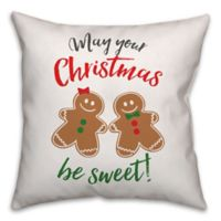 Gingerbread Holiday Pals 16-Inch Square Throw Pillow