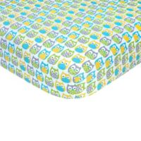 carter's® Owl Sateen Fitted Crib Sheet in Blue/Yellow