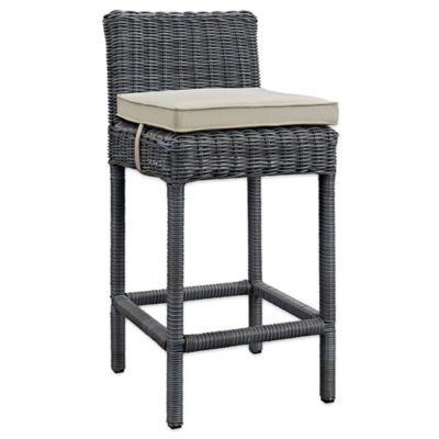 Modway Summon Outdoor Wicker Bar Stool In Sunbrella® Canvas Antique Beige