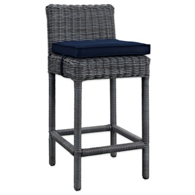 Modway Summon Outdoor Wicker Bar Stool In Sunbrella® Canvas Navy