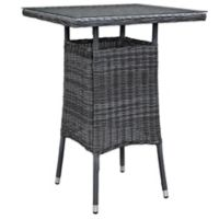 Modway Summon Outdoor Wicker Small Bar Table in Grey