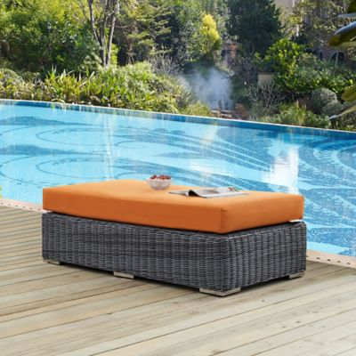 modway summon outdoor wicker ottoman in sunbrella canvas tuscan
