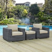 Modway Summon 3-Piece Outdoor Patio Wicker Sectional Set in Sunbrella® Canvas Antique Beige