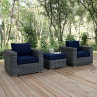 Modway Summon 3-Piece Outdoor Patio Wicker Sectional Set in Sunbrella® Canvas Navy