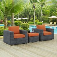 Modway Summon 3-Piece Outdoor Patio Wicker Sectional Set in Sunbrella® Canvas Tuscan