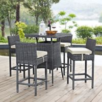 Modway Summon 5-Piece Outdoor Pub Set in Sunbrella® Canvas Antique Beige