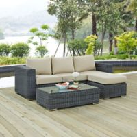 Modway Summon 3-Piece Outdoor Wicker Sectional Set in Sunbrella® Canvas Antique Beige