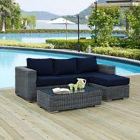 Modway Summon 3-Piece Outdoor Wicker Sectional Set in Sunbrella® Canvas Navy