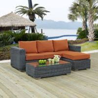 Modway Summon 3-Piece Outdoor Wicker Sectional Set in Sunbrella® Canvas Tuscan