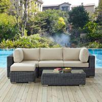 Modway Summon 5-Piece Outdoor Wicker Seating Set in Sunbrella® Canvas Antique Beige