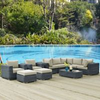Modway Summon 10-Piece Outdoor Wicker Sectional Set in Sunbrella® Canvas Antique Beige