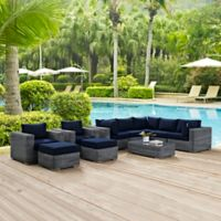 Modway Summon 10-Piece Outdoor Wicker Sectional Set in Sunbrella® Canvas Navy