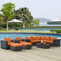 Modway Summon 10-Piece Outdoor Wicker Sectional Set in Sunbrella® Canvas Tuscan