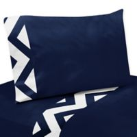 Sweet Jojo Designs Chevron 3-Piece Twin Sheet Set in Navy/White