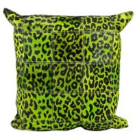 Mina Victory Leather Leopard Print 20-Inch Square Throw Pillow in Green