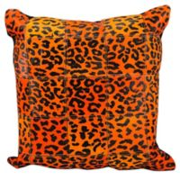 Mina Victory Leather Leopard Print 20-Inch Throw Square Pillow in Orange