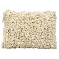 Mina Victory Loop Shag Rectangle Throw Pillow in Beige