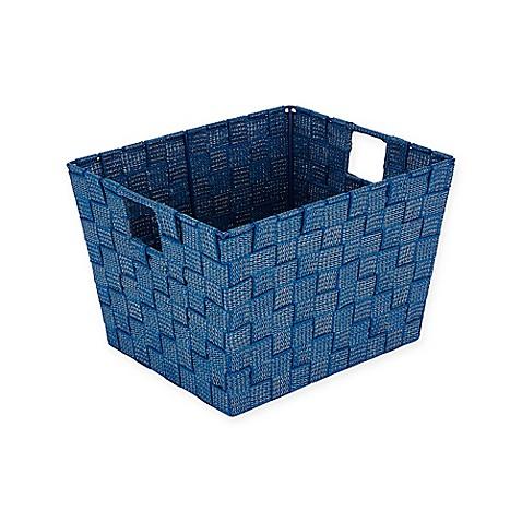 Simplify lurex medium striped woven strap storage tote for Navy bathroom bin