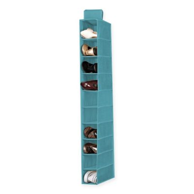 Simplify 10 Shelf Hanging Closet Shoe Organizer In Dusty Blue