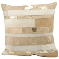 Mina Victory Natural Leather Hide Mixed Stripes 20-Inch Square Throw Pillow in Beige