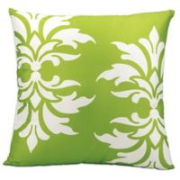 Mina Victory Floral Damask Square Outdoor Pillow in Green