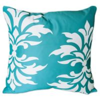 Mina Victory Floral Damask Square Outdoor Pillow in Turquoise