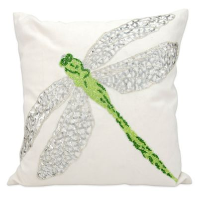Mina Victory 18 Inch Square Dragonfly Outdoor Pillow In Green