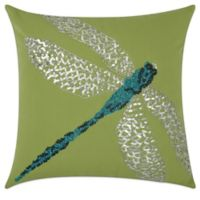 Mina Victory 18-Inch Square Dragonfly Outdoor Pillow in Grey