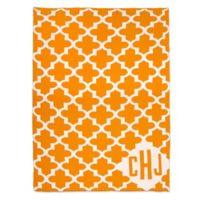 Sleeping Partners Keyhole Cross Knit Throw Blanket in Orange