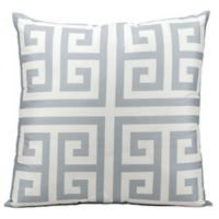 Mina Victory Greek Key Geometric Square Outdoor Pillow in Gray