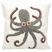 Mina Victory Octopus 18-Inch Square Outdoor Pillow in White