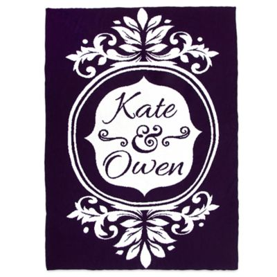 Sleeping Partners Flower Frame Knit Throw Blanket In Eggplant