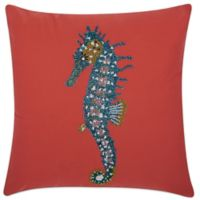 Mina Victory Seahorse 18-Inch Square Outdoor Pillow in Coral