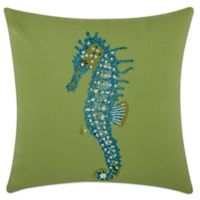 Mina Victory Seahorse 18-Inch Square Outdoor Pillow in Green
