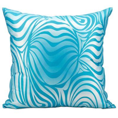 mina victory zebra indooroutdoor throw pillow in turquoise - Turquoise Decorative Pillows