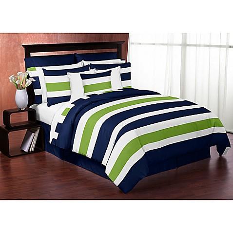 Sweet Jojo Designs Blue and Lime Green Stripe 3 Piece King #2: p $478$