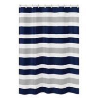 Sweet Jojo Designs Navy and Grey Stripe Shower Curtain