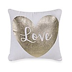 Heart Toss Pillow in Metallic Gold