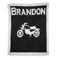 Butterscotch Blankees Vintage Motorcycle Luxury Knit Blanket in Black/White