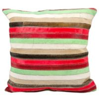 Mina Victory Stripes Square Throw Pillow in Tan/Multicolor