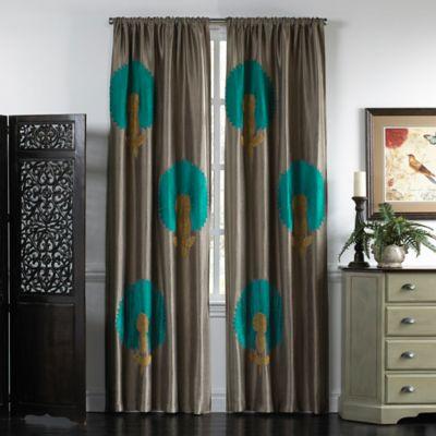 callisto home azure 96inch rod pocket window curtain panel in light brown