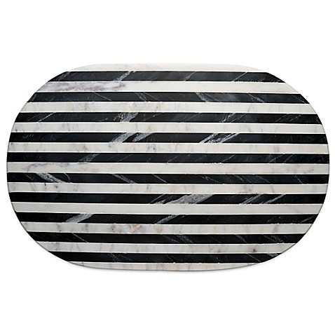 Thirstystone striped marble platter in black white bed for Black and white marble bedding