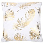 Flynn Foil Print Feather Fill Square Throw Pillow in White/Gold
