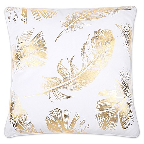 Domain Feather Filled Decorative Pillow : Flynn Foil Print Feather Fill Square Throw Pillow in White/Gold - Bed Bath & Beyond